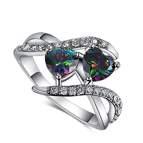 Psiroy 925 Sterling Silver Elegant Rainbow Topaz Double Heart Filled Ring for Women