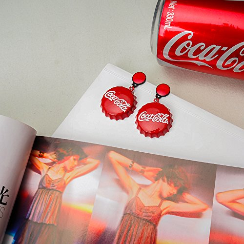 TKHNE Funny Coke bottle cap earrings red tide WTA human personality elegant earrings Meng Meng da ()