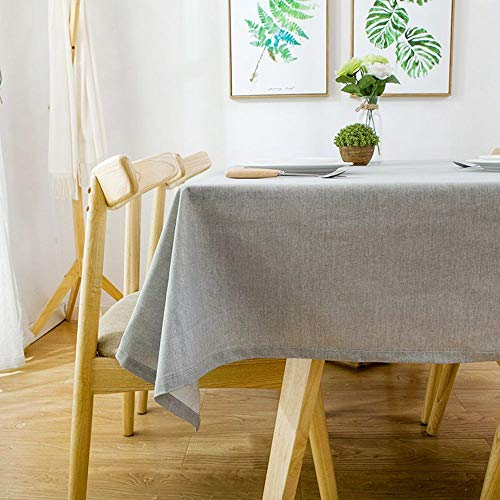 Lahome Solid Color Cotton Linen Tablecloth - Water Resistant Spillproof Table Cover Kitchen Dining Room Restaurant Party Decoration (Gray, Rectangle - 53