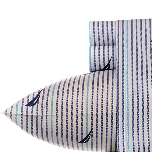 Nautica 6 pc Audley Sail/Sailboat Cotton Percale Sheet Set Full Size Includes 4 Pillowcases