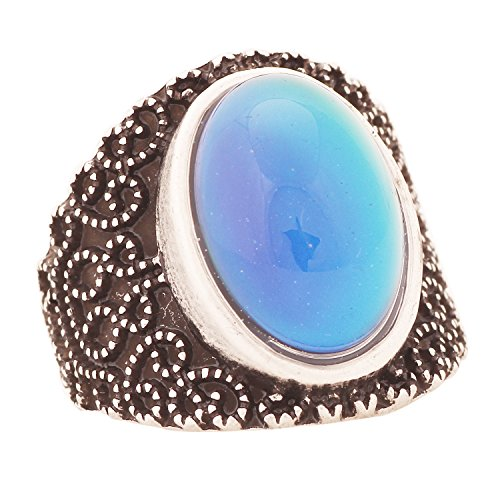 Mood Ring Handmade Antique Sterling Silver Plated Oval Temperature Sensing Color Change Stone MJ-RS005
