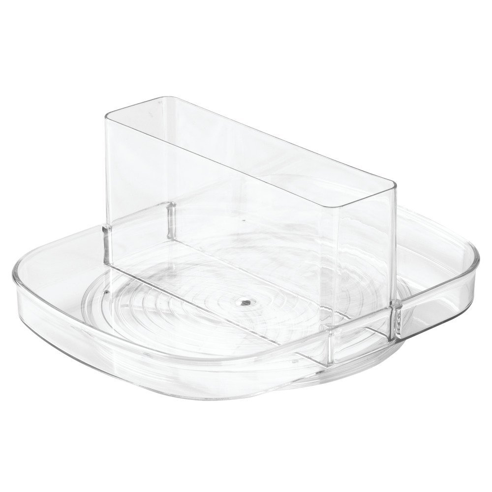 InterDesign Linus Lazy Susan Turntable Napkin and Condiments Holder - Clear