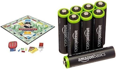 Hasbro Gaming - Monopoly electrónico, juego de mesa (A7444105) y 8 pilas recargables AAA de AmazonBasics: Amazon.es: Juguetes y juegos