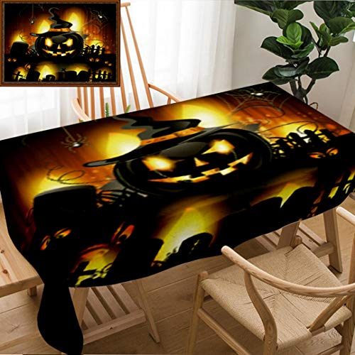 Unique Custom Design Cotton and Linen Blend Tablecloth Halloween Background with Cemetery and PumpkinTablecovers for Rectangle Tables, Small Size 48