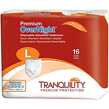 Tranquility Premium Overnight Disposable Absorbent Underwear (DAU) - LG - 64 ct