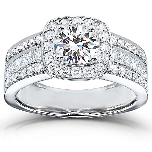 Round-cut Diamond Halo Engagement Ring 2 Carat (ctw) in 14k White Gold, Size 7.5