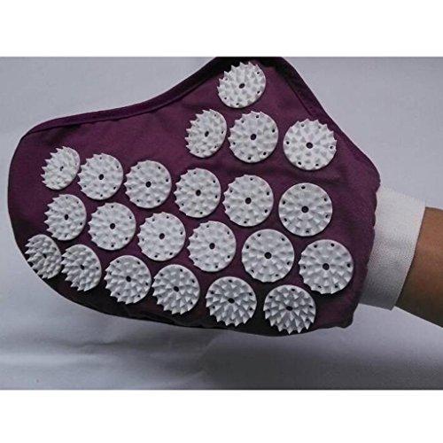 Homyl 1 Pair Spiky Pressure Point Reflexology Acupuncture Massage Gloves Massager Purple Black - Purple by Homyl (Image #6)