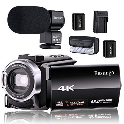 4K Camcorder, Video Camera, Live Streaming Vlogging YouTube Camera Camcorder 60FPS 48MP Ultra HD WiFi IR Night Vision 3.0″ IPS Touch Screen with Microphone, Separate Battery Charger, 2 Batteries