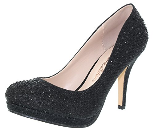 Black Sparkle Heel Robin Collection De Toe Round Womens Blossom 46 Dressy Mid Pump Oq7nwCfPn