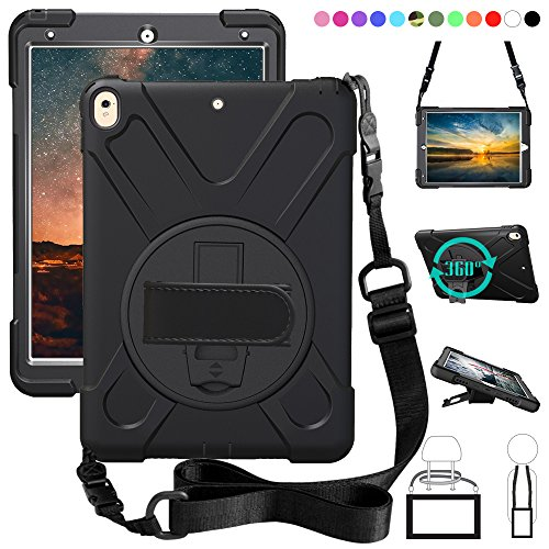 NEW iPad Pro 10.5 Handstrap Case,360 Degree Rotating Kickstand Dropproof Shockproof Heavy Duty 3-Layer Cover Skin With Shoulder Belt Harness For New iPad Pro 10.5 inch 2017 A1701 A1709, (Black)