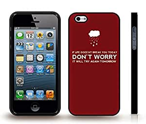 """iStar Cases? iPhone 4 Case with """"If life doesn't break you today..."""" Inspirational, Funny, White Font on Burgundy, Rainy Cloud , Snap-on Cover, Hard Carrying Case (Black)"""