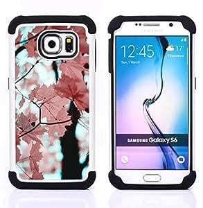 """Samsung Galaxy S6 / SM-G920 - 3 en 1 impreso colorido de Altas Prestaciones PC Funda chaqueta Negro cubierta gel silicona suave (El rosa deja la rama de árbol de arce"""")"""