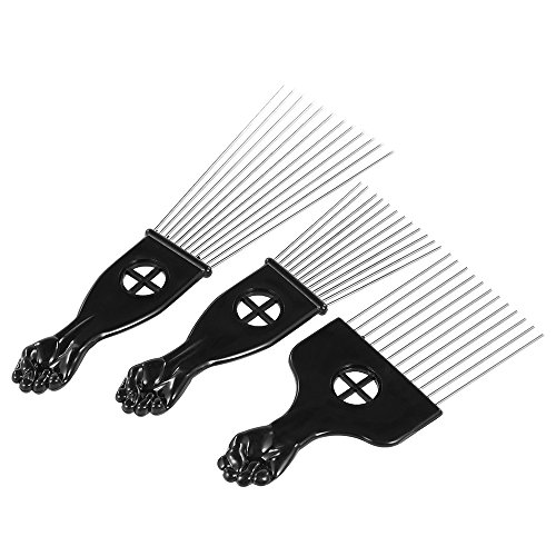 Anself 3Pcs Metal Afro Comb African American Pick Comb Hair Brush Hairdressing Styling Tool