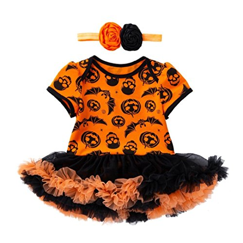 Malbaba Infant Toddler Baby Girls Halloween Pumpkin Bow Party Dress Clothes Dresses (80(18M), Pattern B) ()