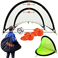 Pop Up Soccer Goals Set - 2 Portable Soccer Nets for...