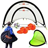 Pop Up Soccer Goals Set – 2 Portable Soccer Nets Backyard, Park Training – Carry Bag + 8 Disc Soccer Cones Extra Metal Pegs – Perfect Soccer Goals Kids