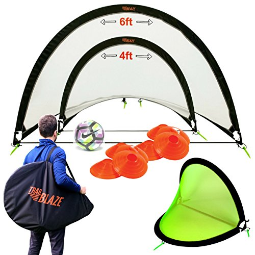 Pop Up Soccer Goals Set - 2 Portable Soccer Nets for Backyard, Park or Training - Soccer Goal for Backyard + Carry Bag + 8 Disc Soccer Cones Extra Metal Pegs - Perfect Soccer Goals for Kids