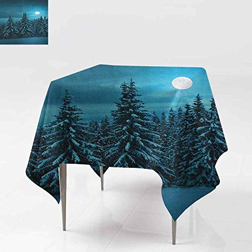Tablecloth for Kids/Childrens,Night,Tranquil Blue Night with Moon in Woods Covered with Snow Serene Winter View,For Events Party Restaurant Dining Table Cover,50x50 Inch Turquoise Teal White