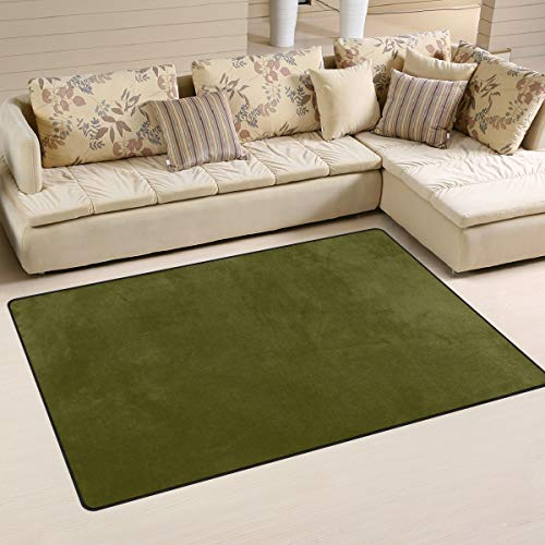 LORVIES Olive Green Area Rug Carpet Non-Slip Floor Mat Doormats Living Room Bedroom 60 x 39 inches