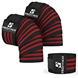 ProFitness Weightlifting Knee Wraps (Pair) – Adjustable Compression Sleeves for Cross Training, Squats, Powerlifting, Weightlifting – Improved Gym Workout Strength & Stability – Unisex (Black/Red)