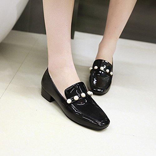 Mee Shoes Damen chunky heels vierkant slip on Pumps Schwarz