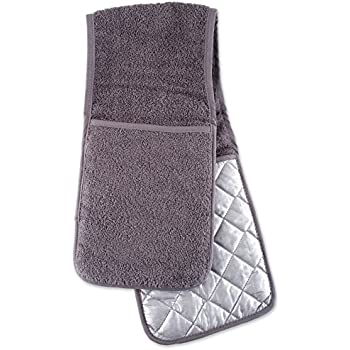 DII 100% Cotton Terry Double Oven Mitt Machine Washable, Heat Resistant, 36 x 7.5, Gray