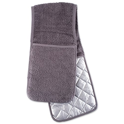 DII Cotton Long Terry Double Oven Mitt, 36 x7.5, Machine Washable and Heat Resistant Baking Glove/Moppine for Kitchen Cooking and Baking-Gray
