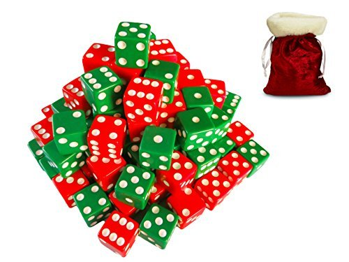割引学習装置50個クリスマス/休日16mm赤と緑Assorted Dice with Santaストレージギフトバッグの商品画像