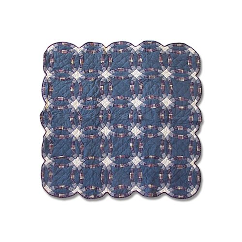 [Patch Magic 50-Inch by 60-Inch Blue Dbl Wedding Ring Throw] (Wedding Ring Quilt Throw)