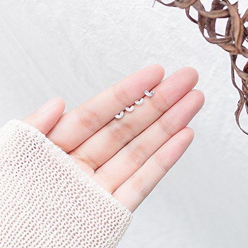 usongs 925 Love earrings elegant simple women girls small ear bone screws pierced earrings sterling silver personalized -