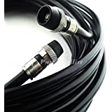 200ft COMMSCOPE *MADE IN USA* Direct Burial Underground RG-6 GEL Coat Flooded Coaxial Cable Moisture and Soil Acidity Tolerance Broadband Signal Transmission with AQUASEAL WATER TIGHT COMPRESSION RG6 COAXIAL FITTING CONNECTORS