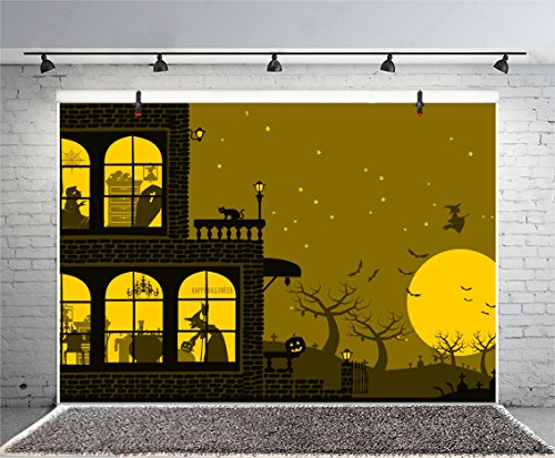 Halloween Horror Nights Commercial (Leyiyi 6x4ft Photography Background Happy Halloween Backdrop Pumpkin Lamp Witch Zombie Bat Cats Gothic Catle Trees Silhouette Round Moon Horror Night Costume Canival Photo Portrait Vinyl Studio)