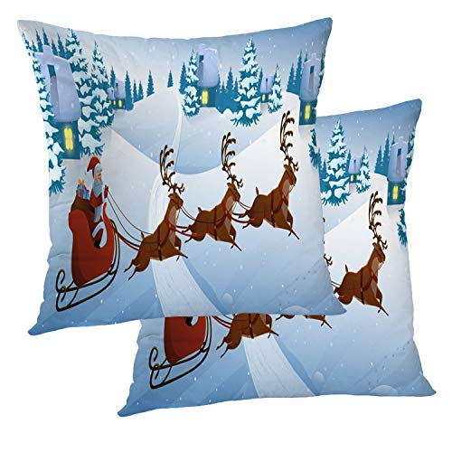 BaoNews Deer Pillow Cover, Santa Claus Deer Sleigh with Reindeers Snow Square 18 x 18 Inches Decorative Throw Pillow Covers Cotton Cushion for Sofa Bedroom Car, Black, Set of 2