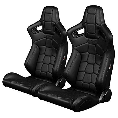 BRAUM - Pair of Black Leatherette KOMODO Edition ELITE-X Series Racing Seats (BRR1X-BKRT) ()