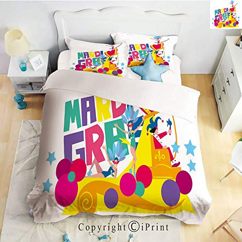Homenon Bedding 4 Piece Sheet,Festival Parade Theme Dancers in Costumes Colorful Dots Stars Abstract Design Decorative,Multicolor,Full Size,Suitable for Families,Hotels -