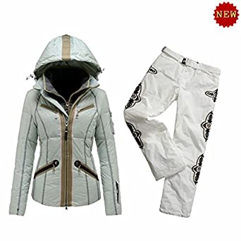 B0GNER Winter Ski Women Kiki-D Down Grey Ski Jacket and White Ski Pants  Small 59abcbc9e