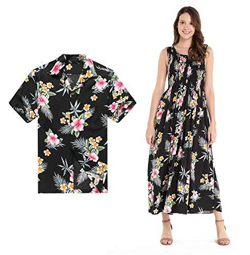 01f76b887be8 Couple Matching Hawaiian Luau Aloha Shirt Maxi Tank Dress in Hibiscus in 3  Colors