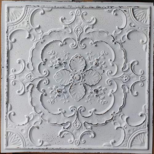PLASTDECOR Ceiling Tile Faux tin Painted Peeling Black White Cafe Decor Ceiling Panels PL19 Pack of 10pcs ()