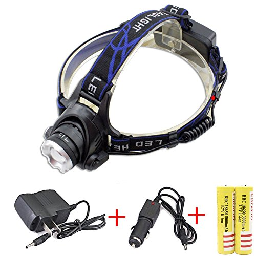 5000Lm CREE Q5 LED Zoomable Adjust Focus Headlight Headlamp Waterproof Light torch include 2 x 5000mAh 18650 battery  Charger  Car Charger