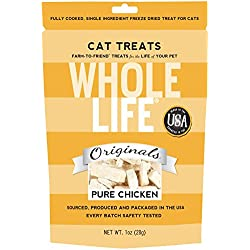 Whole Life Pet Single Ingredient USA Freeze Dried Chicken Breast Treat for Cats, 1-Ounce