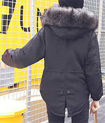 Fausse Col Schwarz Automne Éclair Manteau Warm Large Fashion Longues Blouson Capuchon Cheminée En Manches Parka Fourrure Jacken Quilting À Casual Stepp Jeune Hiver Femme Fermeture RqESw7YIW