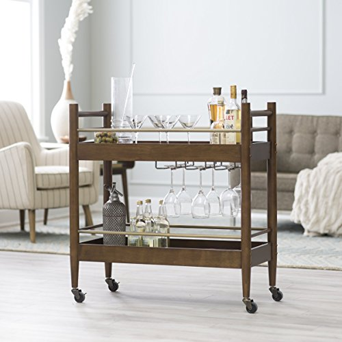 Belham Living Carter Mid-Century Modern Bar Cart, Crafted of Engineered Wood, Perfect for Indoor and Outdoor Use (Bar Brass Cart)