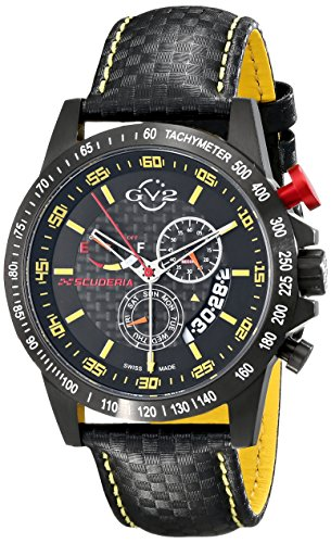 GV2 by Gevril Men's 9901 Scuderia Analog Display Swiss Quartz Black (Swiss Quartz Alarm)