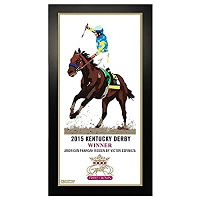 2015 Horse Racing Triple Crown Kentucky Derby Commemorative Artwork 10 Inch X 20 Inch Custom Framed Photo