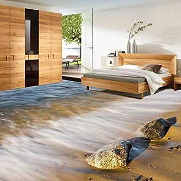 LHDLily Strand Meer Wellen Aus Stein 3D-Boden Im Badezimmer ...