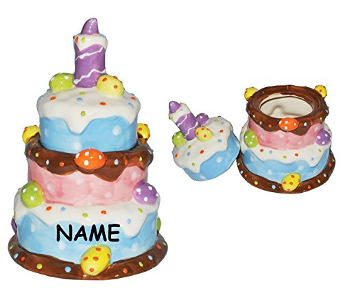 Porzellan Dose / Zuckerdose mit Deckel incl. Name - z.B. für Süßigkeiten / Bonbons oder für Muffin Nachspeise - Deko Dosen Porzellandose Vorratsdose Aufbewahrung Universaldose Marmeladendose - Geburtstagskuchen - aus Porzellan / Keramik