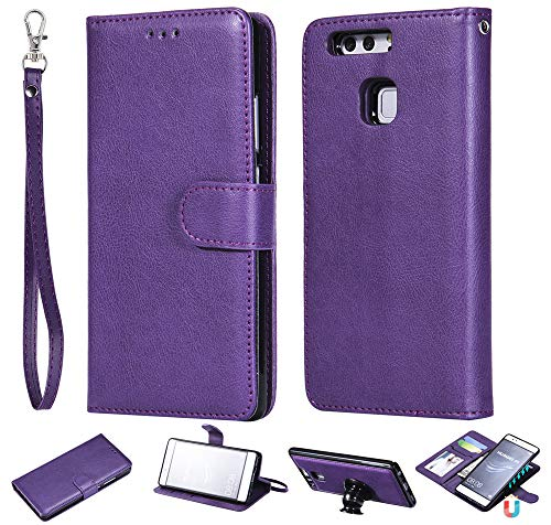 T634 Card - Huawei P9 Wallet Case, Huawei P9 Case, Forhouse Premium Leather Zipper Wallet Multifunctional Boys Removable Card Slot Pocket Pouch Flip Protective Cover for Huawei P9-Purple