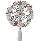 Northlight 7'' Silver Tinsel Snowflake Starburst Christmas Tree Topper - Clear Lights