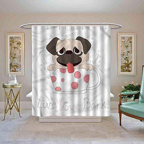 Big datastore Shower Curtain Pug,Live Love Bark Quote Funny Waterproof Shower Curtain, W72 x L96 (White Sox Toothbrush)