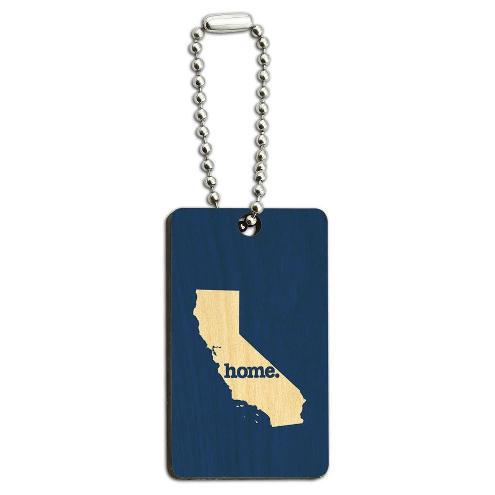 California CA Home State Wood Wooden Rectangle Key Chain - Flag Graphics and More